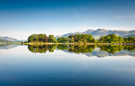 borrowdale: Derwent Water with Latrigg mountain backdrop in the English Lake District, UK