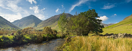fells: View of Wast Water towards the screes of Yewbarow and Great Gable in the Lake District. Stock Photo