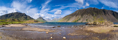 ridge of wave: View of Wast Water towards the screes of Yewbarow and Great Gable in the Lake District. Stock Photo