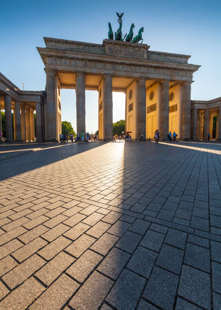 brandenburg: Dramatic sunlit Brandenburg Gate  1788 , Berlin, Germany