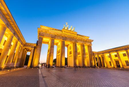 Night time illuminations of the Brandenburg Gate  1788 , Berlin, Germany