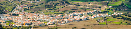 spanish houses: View of spanish houses and landscape. Stock Photo