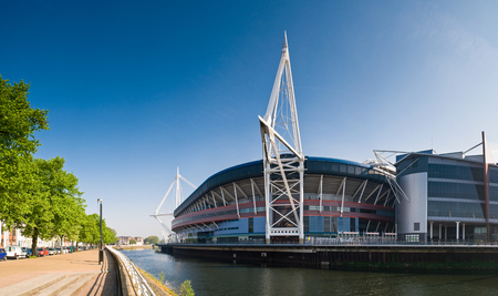 millennium: Summer sun over the River Taff and Millennium sports stadium in Cardiff.