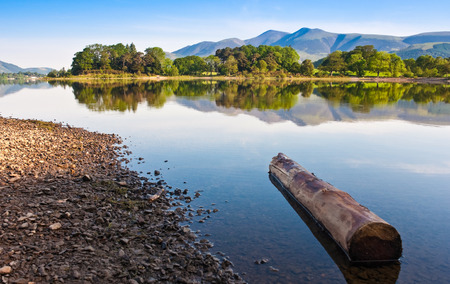 borrowdale: Derwent Water with Latrigg mountain backdrop in the English Lake District, UK.