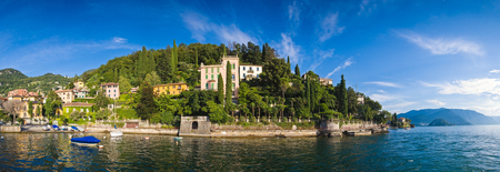 lake como: Colourful villas, mountain backdrops and clear waters of Varenna on Lake Como in Italy.