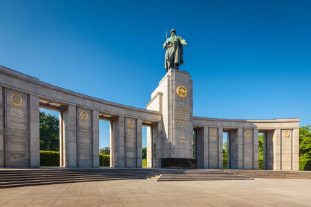erected: Soviet War Memorial (1945) erected by the Soviet Union to commemorate the 80,000 soldiers who died during the battle of Berlin, Germany. Editorial