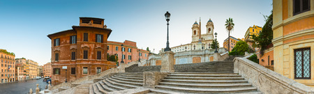 monti: The famous terraced Spanish steps (1723) at first light leading to the church of Trinita dei Monti at the top of Pincio.