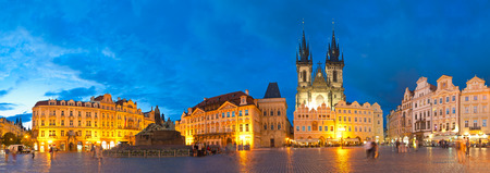 old town square: Night time illuminations of the magical Old Town Square in Prague