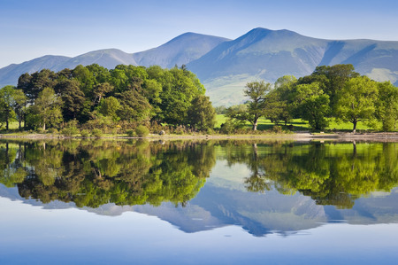 english oak: Summer woodland reflected in a perfectly still Derwent Water with dramatic Latrigg mountain backdrop in the beautiful English Lake District. Stock Photo