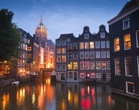 st nicholas: Night time illuminations of the stunning neo-Renaissance St Nicholas Church (1842) in the heart of Amsterdam.
