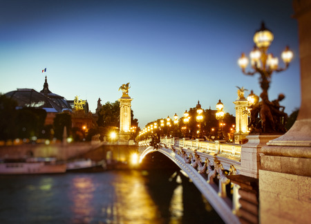 Stunning Pont Alexandre III bridge (1896) spanning the river Seine Stock Photo