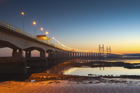 Golden sunset over the Second Severn Bridge providing a vital link for England and Wales.