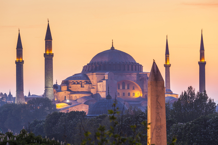 Majestic Blue Mosque (built 1616) in the vibrant city of Istanbul, Turkey. Stock Photo