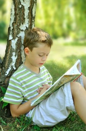 A reading boy at the tree  photo