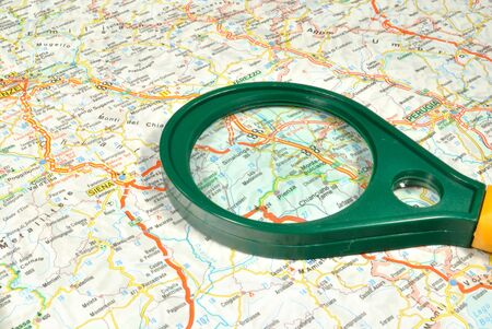 touristic: The touristic map and magnifying glass