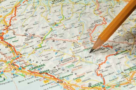 map pencil: The touristic map and pencil Stock Photo
