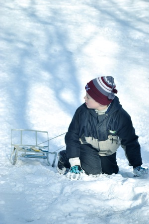 The boy with sled Stock Photo - 12888107