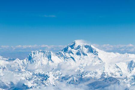 mount everest: Mount Everest summit himalaya range landscape aerial shot