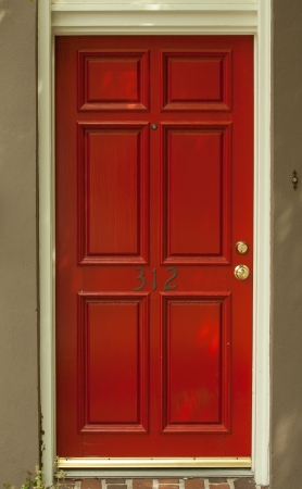 windows and doors: entry door red
