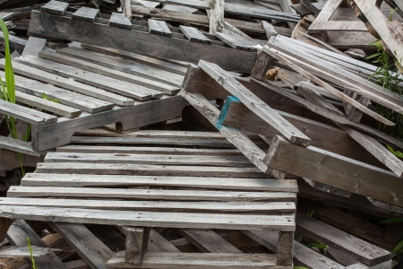 stack of old scrap pallets Banco de Imagens