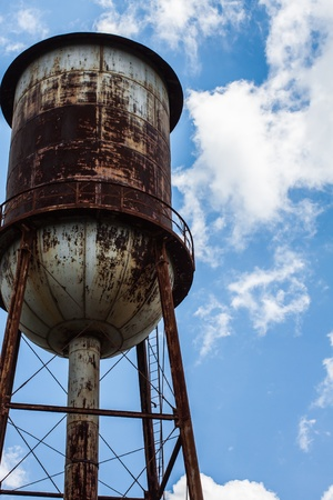 corroded: industrial water tower