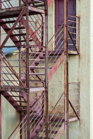 escape: exterior fire escape stairs on manufacturing building