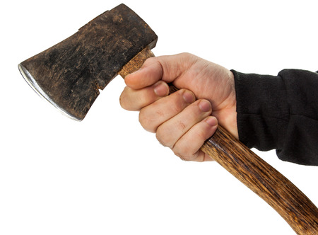 attacker: isolated male hand with tools Stock Photo