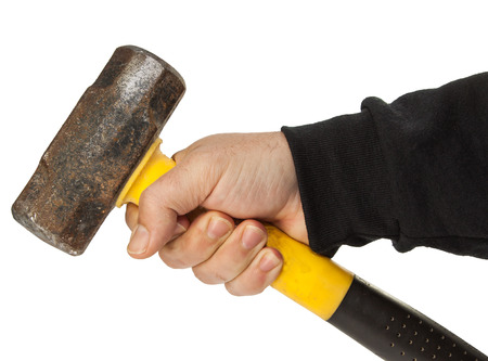 isolated male hand with tools photo