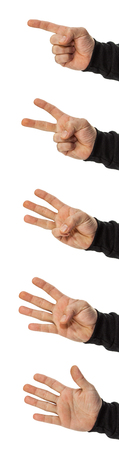 1: set of hands counting 1, 2, 3, 4, 5