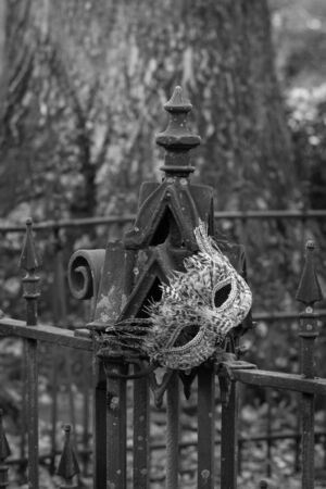 Graveyard Ironwork in plack and white photo
