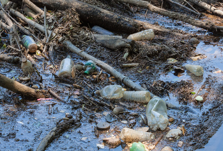 polluted river: River litter in SweetWaterCreek Ga Stock Photo