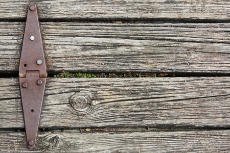 weathered wood background: Old rusted hinge holding floating wooden dock together