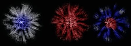 fourth birthday: Fireworks Illustration in color on a black background