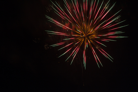 pyrotechnic: Pyrotechnic fireworks celibration in the night sky Stock Photo