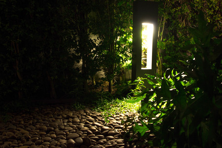 Soft dim lighting coming from an outdoor tower of light where leaves and jungle greenery is softly illuminated against warm natural rocks for a peaceful evening setting.  Copyspace room.