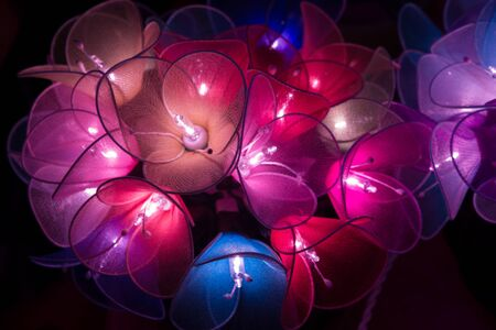 emotional love: Multi-colored flower lights in hanging cluster in the dark glowing nicely.  These cute and adorable mood lights create nice emotional love.  Copy space. Stock Photo