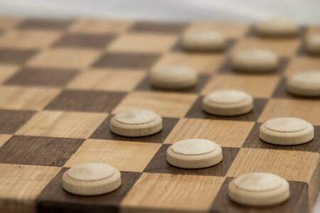 Business competition chess board concept in grainy faded old time look.  Copyspace for text. Stock Photo