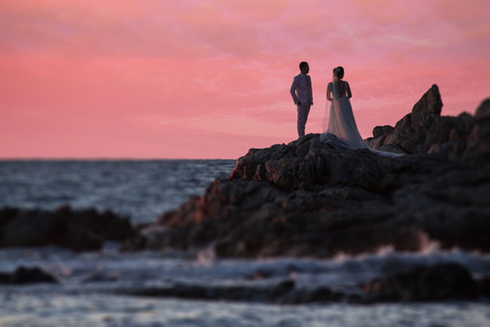 Romance and love with marriage ceremony on the beach. Stock Photo