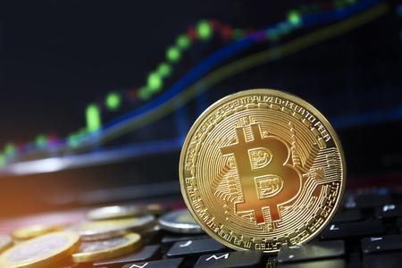 Bitcoin valuta-investering met dagelijks stijgende waarde. Laptopcomputer met muntstukken en handel grafiek. Copyspace voor woorden.