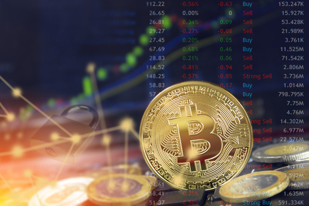 Bitcoin blockchain security concept with internet cloud computing and record highs.