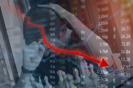 Stock market and financial concept for big losses and investing in poor performance stocks and coins. Stock Photo