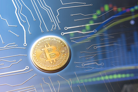 Bitcoin currency powering new currency system of the digital age. Mainboard computer circuit concept.