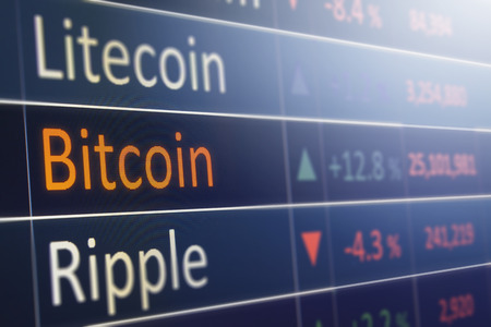 Bitcoin exchange concept.  Currency and financial market values.  Copyspace for text. Stock Photo