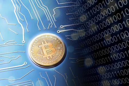 Digital age bitcoin currency on the internet with circuit board concept with ones and zeros.