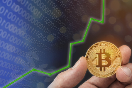 Bitcoin digital circuit electronic concept.  Rising currency values and upswing increased profits for financial concept.