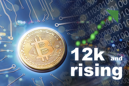 Financial business concept bitcoin currency price rising and market growing as people invest more dollars into crypto. Stock Photo