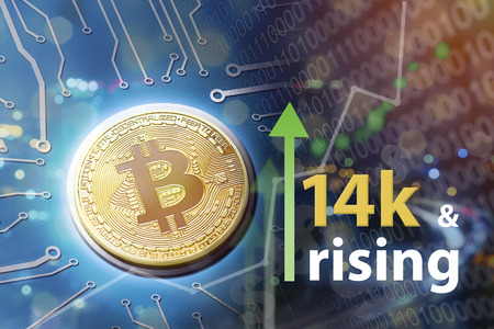 Bitcoin exchanges see rising financial values in trading and crypto currency buying power.  Investing and upswing concept.