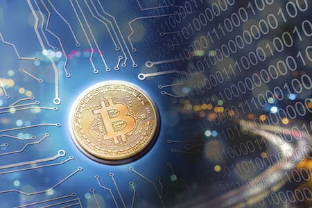 Bitcoin circuit board electronic currency concept. Stock Photo