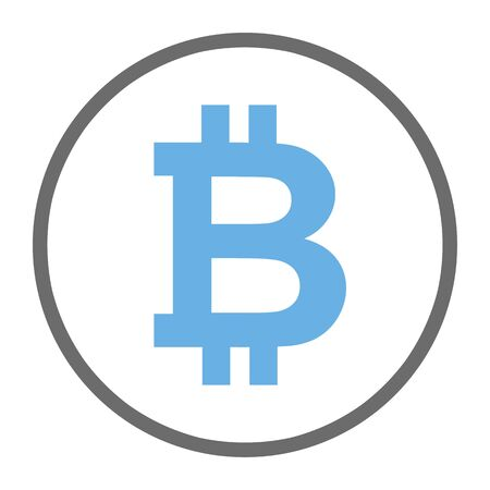 Bitcoin symbol sign for digital currency.  Cryptocurrency to use for buttons or websites.  Security concept and blue bitcoin illustration.