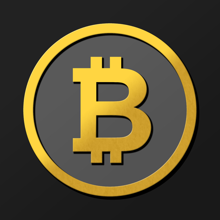 Dark bitcoin 3D coin illustration in gold with shadows.  Rendering with shading and high closs golden B symbol concept.